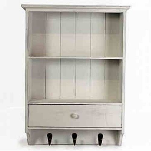 wooden french vintage shelf unit with drawer shabby chic wall storage unit white ebay. Black Bedroom Furniture Sets. Home Design Ideas