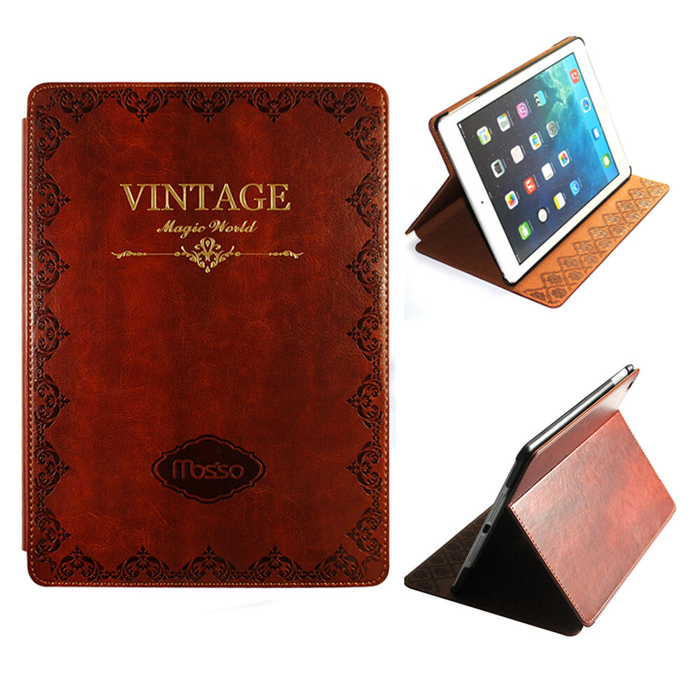 Vintage Book Cover For Ipad : Retro vintage old book pattern case protective pu leather