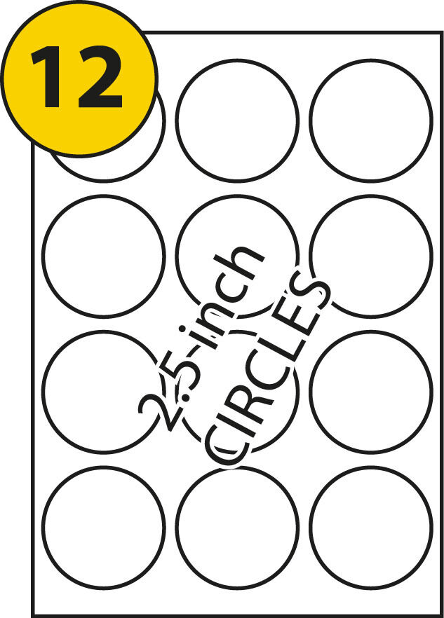 10 sheets a4 printer round sticky labels 12 per sheet 63 for 5 inch round labels