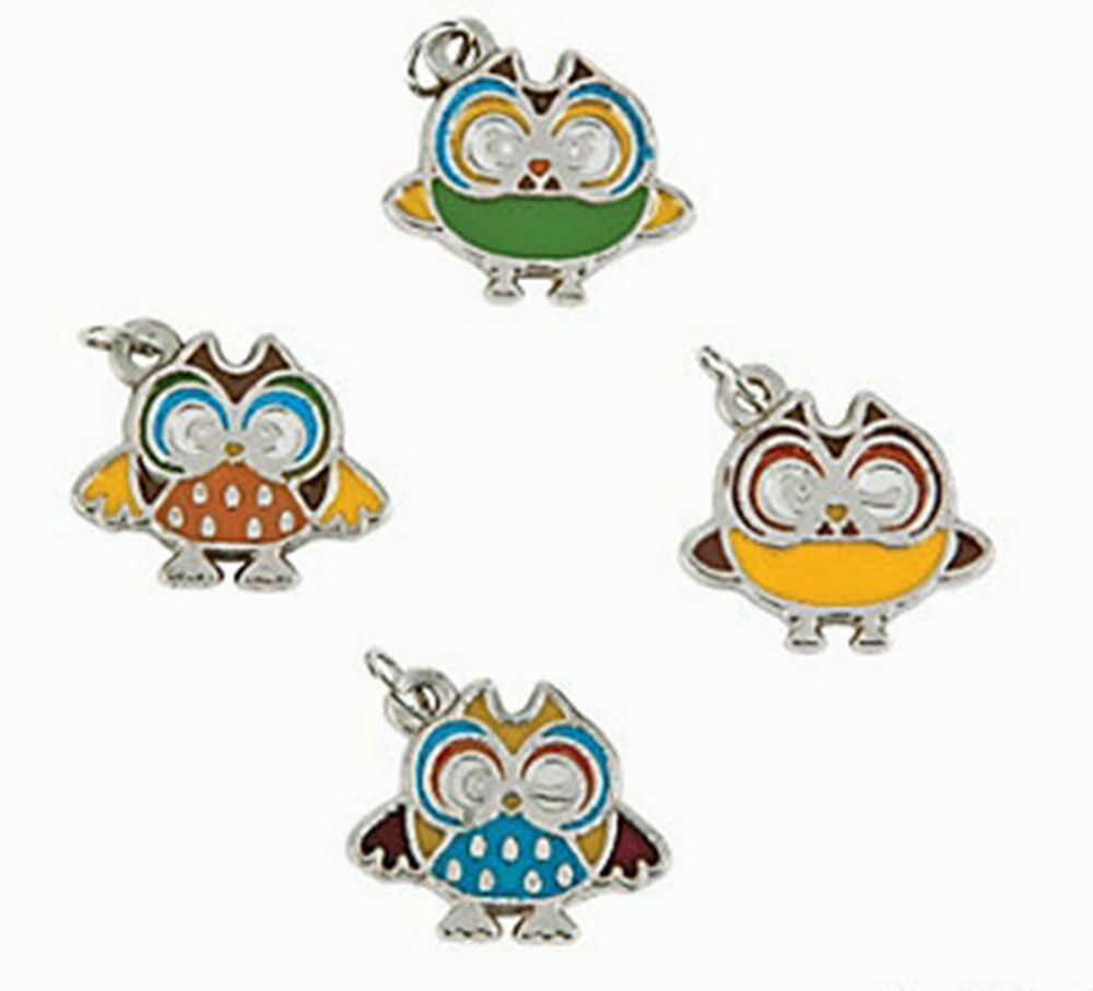 36 enamel owl charms jewelry crafts party supplies free for Craft and jewelry supplies