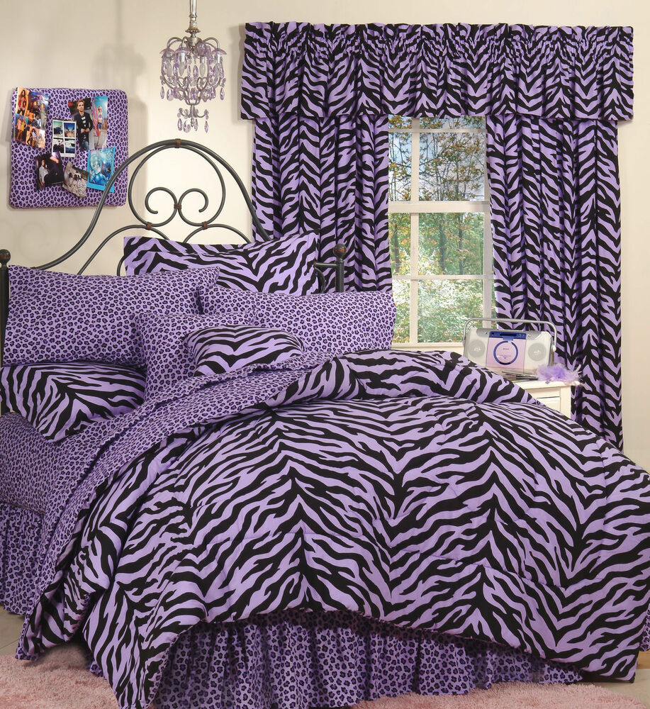 purple zebra leopard safari print 6 pc extra long twin comforter bedding set ebay. Black Bedroom Furniture Sets. Home Design Ideas