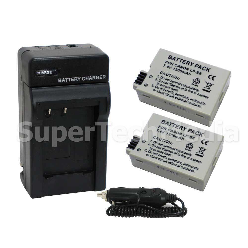 Battery + Charger Combo Kit For Canon LP-E8 LPE8 EOS Rebe T2i T3i ...