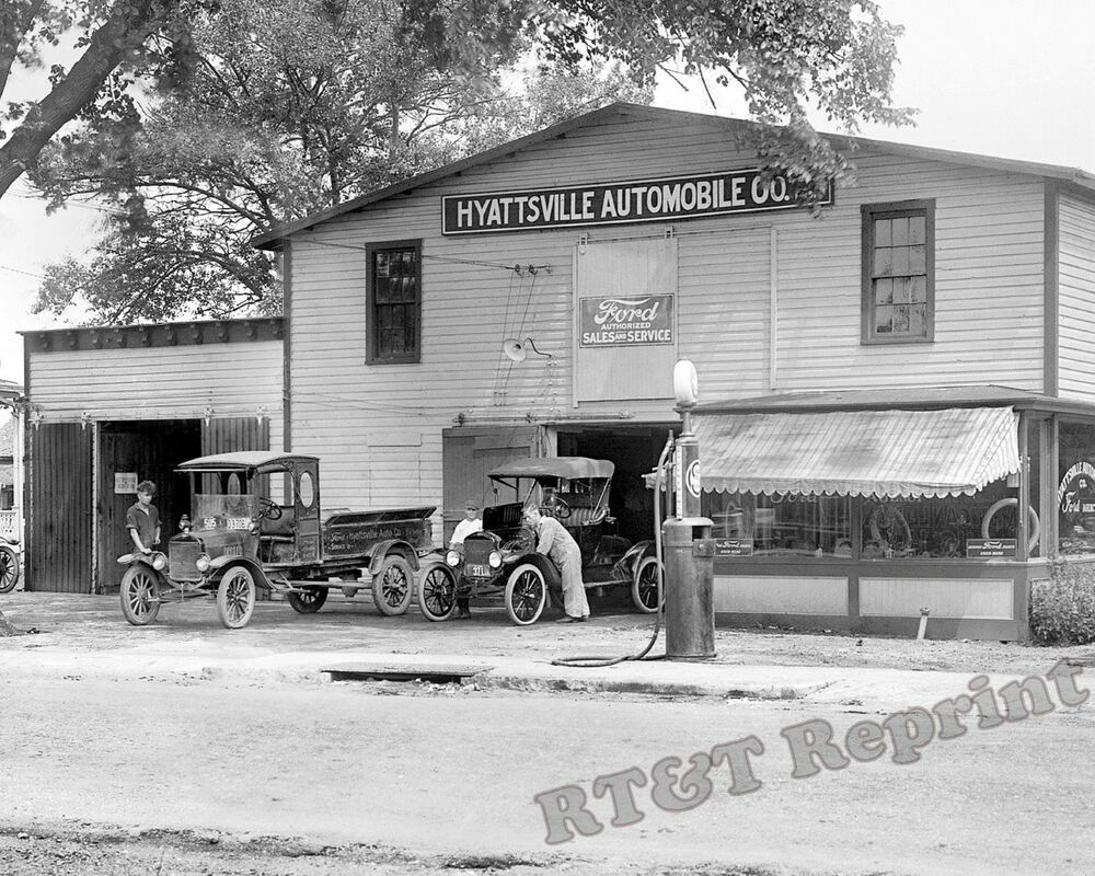 photograph vintage ford dealer hyattsville maryland year 1921c 8x10. Cars Review. Best American Auto & Cars Review