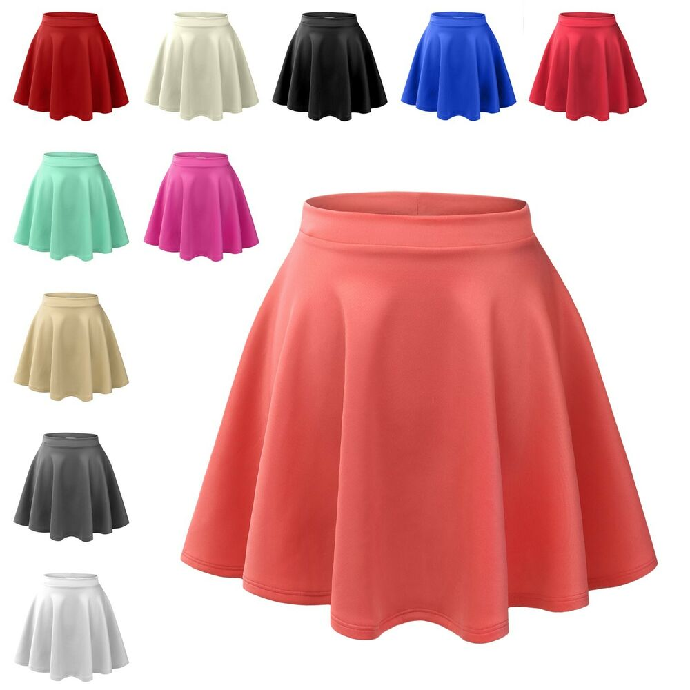 womens basic high waisted stretch flared pleated plain