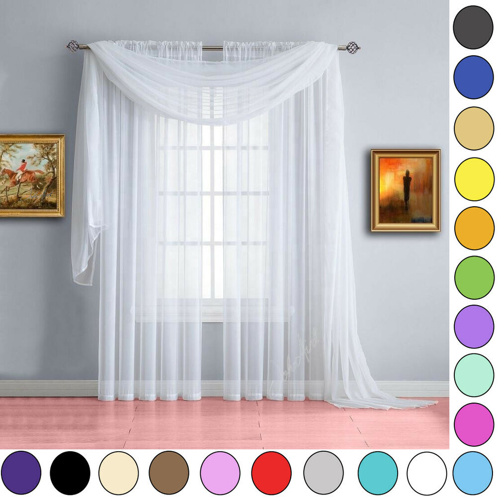 voile scarves 3m or 5m lengths net curtains swags. Black Bedroom Furniture Sets. Home Design Ideas