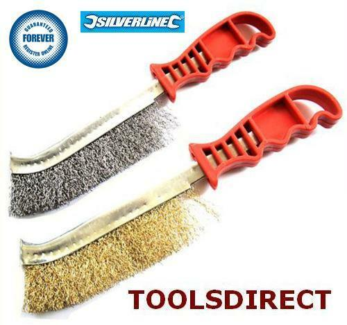 wire brushes 2pc steel brass diy tool rust paint metal remover garden bbq ebay. Black Bedroom Furniture Sets. Home Design Ideas