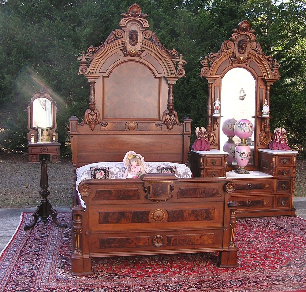 Beautiful victorian walnut ansonia head bedroom set ebay for Victorian bedroom furniture