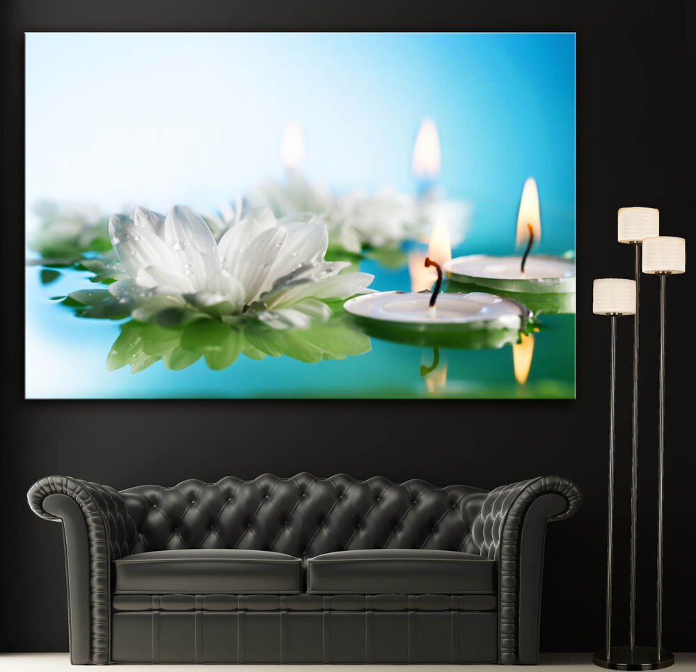 Wall art canvas print flowers candles spa zen colorful for Art wall decoration