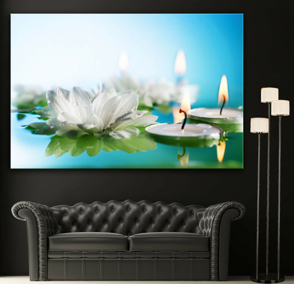 Colorful Wall Decor: Wall Art Canvas Print Flowers Candles Spa Zen Colorful