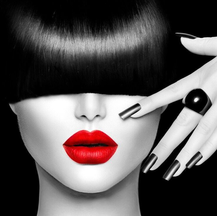 Red lips face modern canvas home fine wall art prints for Modern black and white wall art