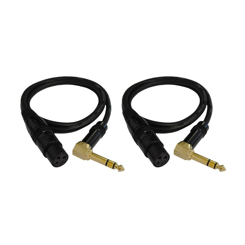 e20106p2 6ft 1 4 trs right angle to xlr 3pin female shield cable 2 pack ebay. Black Bedroom Furniture Sets. Home Design Ideas