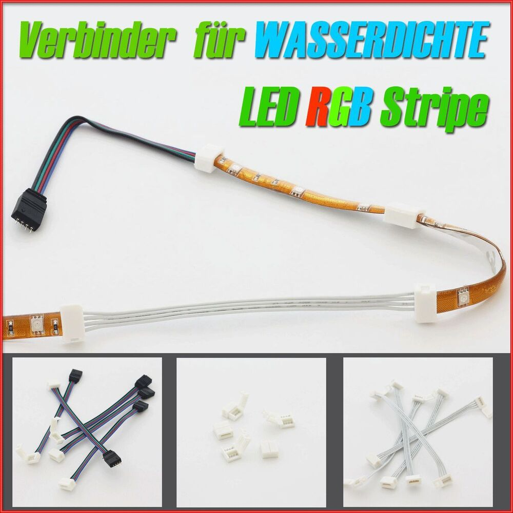 verbinder f wasserdicht silikon verguss led rgb strip e leiste kabel adapter ebay. Black Bedroom Furniture Sets. Home Design Ideas