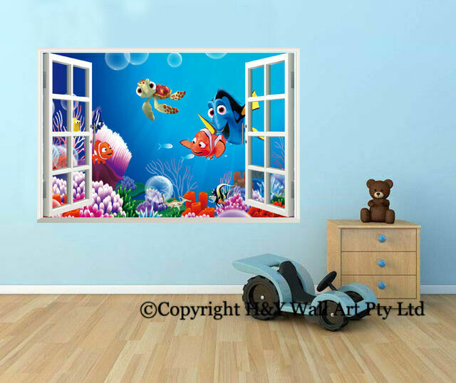 Finding nemo 3d window view wall stickers kids nursery for Children room mural