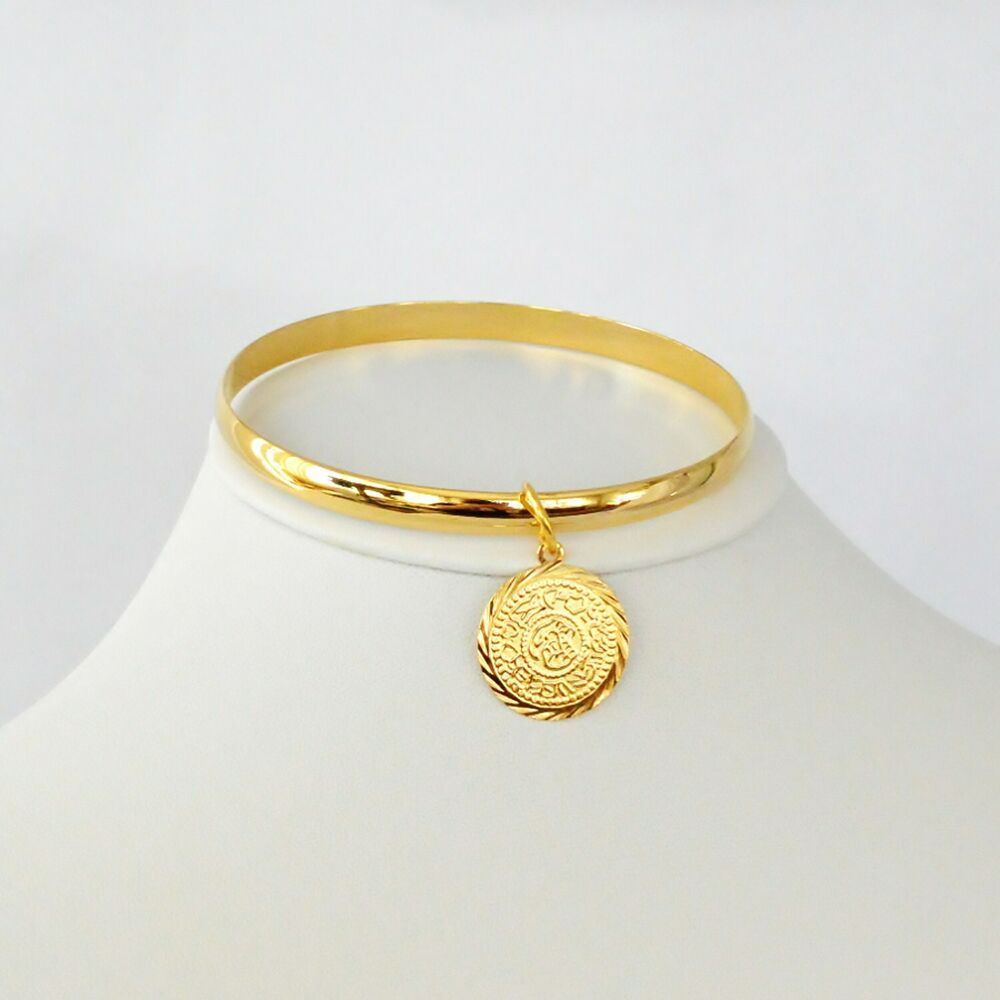Gold Jewelry Bracelets: Solid Half Round 7mm Bangle Bracelet Arabic Coin Charm 24k