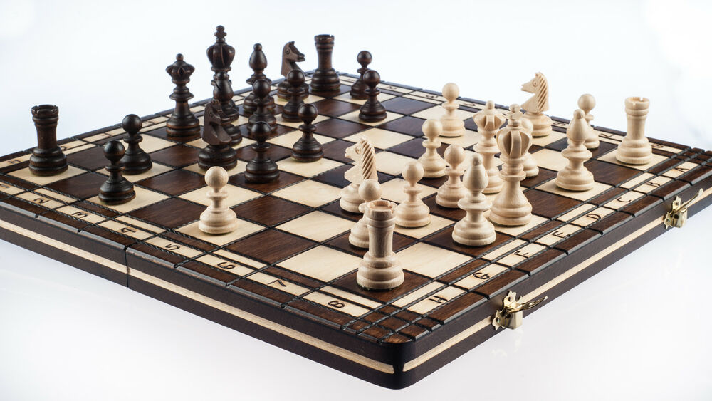 Brand new hand crafted wooden chess and draughts set3 for Hand crafted chess set