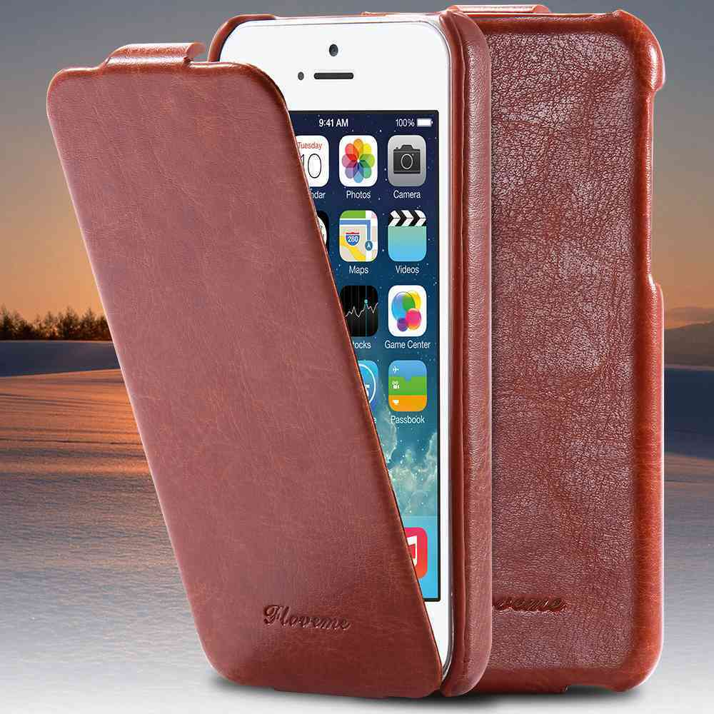 Ultra thin vintage handmade leather case flip pouch slim cover for iphone 5 5s ebay - Iphone 5s leather case ...
