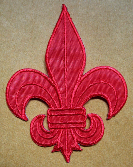 Red Fleur De Lis Symbol Embroidered Iron On Patch Free