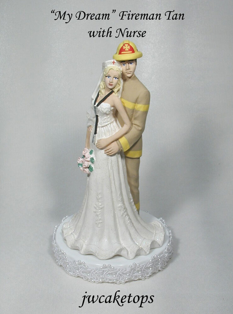 nurse wedding cake toppers firefighter gear groom with wedding cake 17951