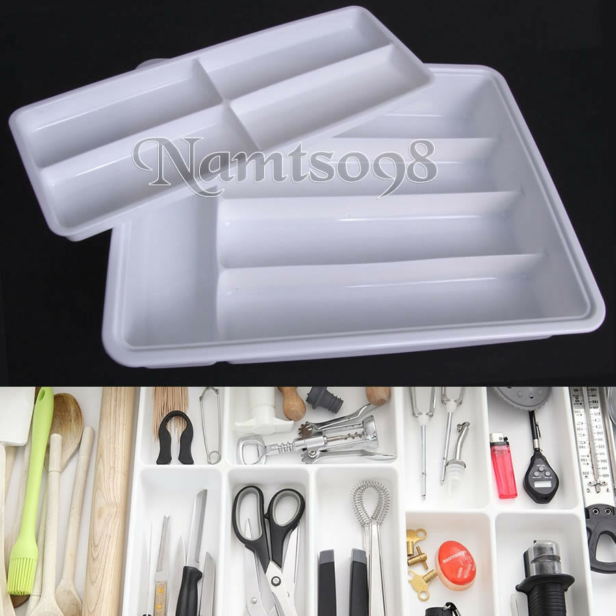 Plastic cutlery utensil drawer organizer storage tray for Silverware storage no drawers