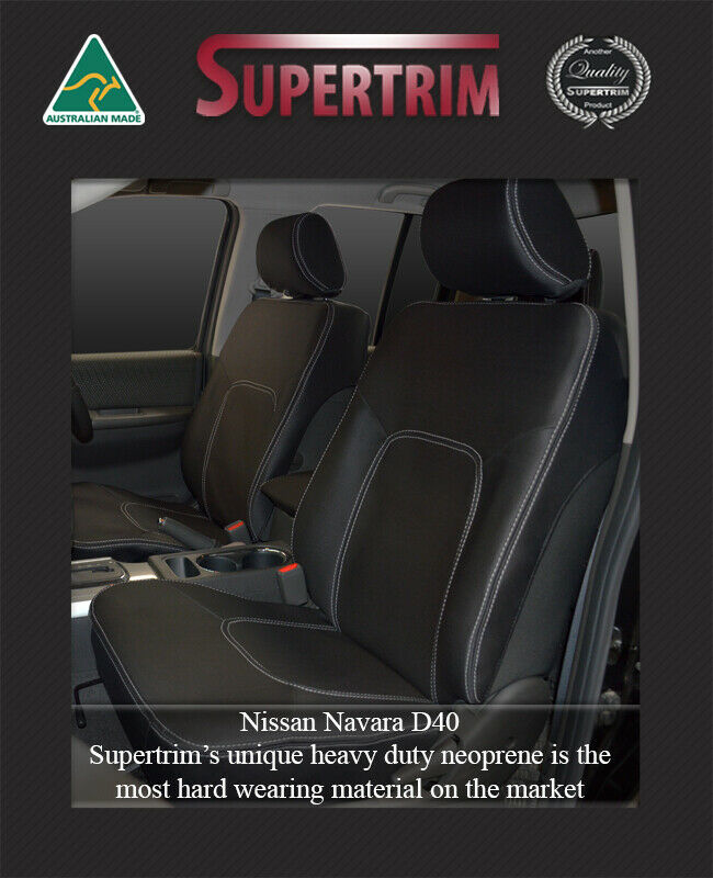 nissan navara d40 st 2012 waterproof premium front pair car seat covers airbag ebay. Black Bedroom Furniture Sets. Home Design Ideas