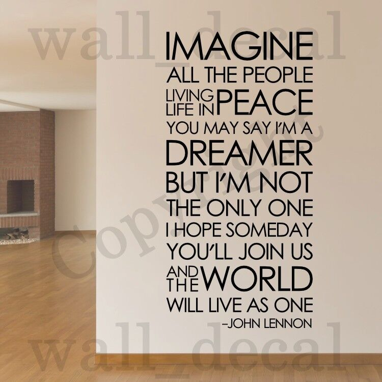 Imagine john lennon the beatles removable wall decal vinyl for Decor quotes