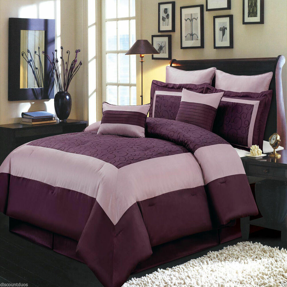 8pc luxury comforter set wendy purple bedding set with - Complete bedroom sets with curtains ...