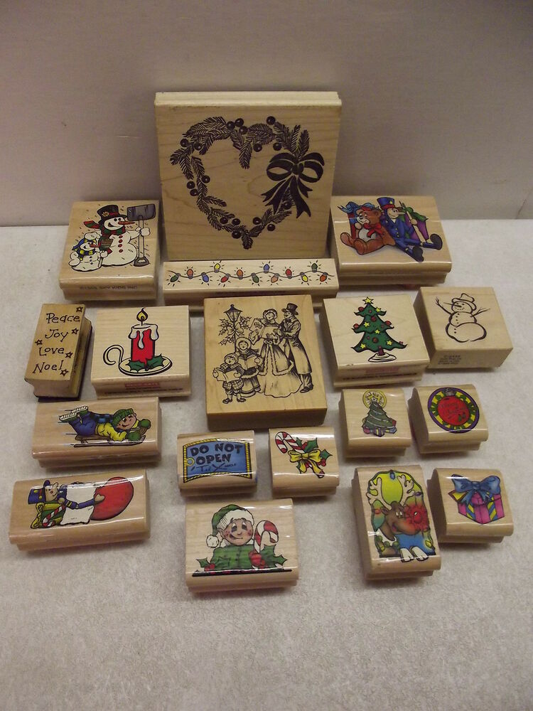 18 wood mounted rubber stamps christmas psx hero arts sky for Custom craft rubber stamps
