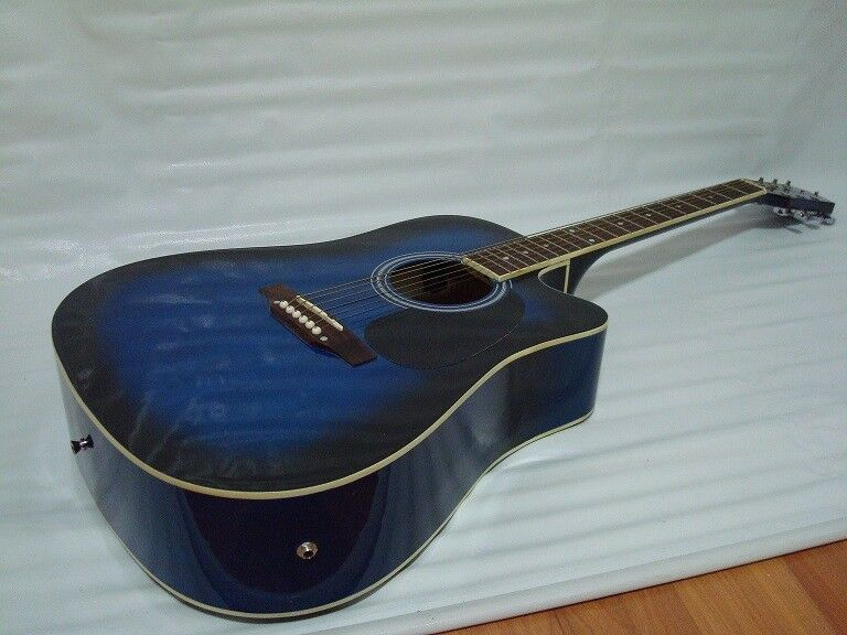 6 string acoustic electric guitar full size cutaway blue ebay. Black Bedroom Furniture Sets. Home Design Ideas