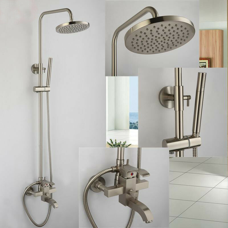Brushed Nickel 8 Rain Shower Faucet System Tub Mixer Tap With Hand Show