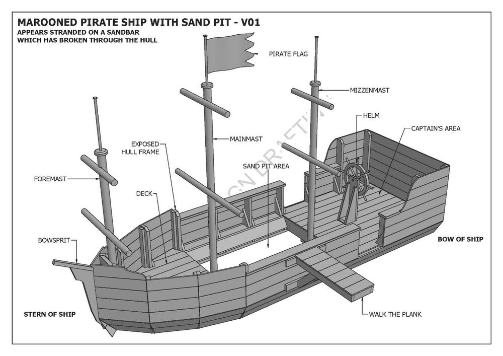 Marooned pirate boat with sand pit cubby play house for New build house plans