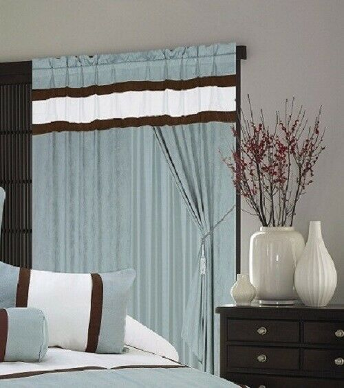 3 Piece Faux Cotton Espresso Brown Kitchen Window Curtain: A Pair Of Window Curtain / Drapes / Panels With Sheer