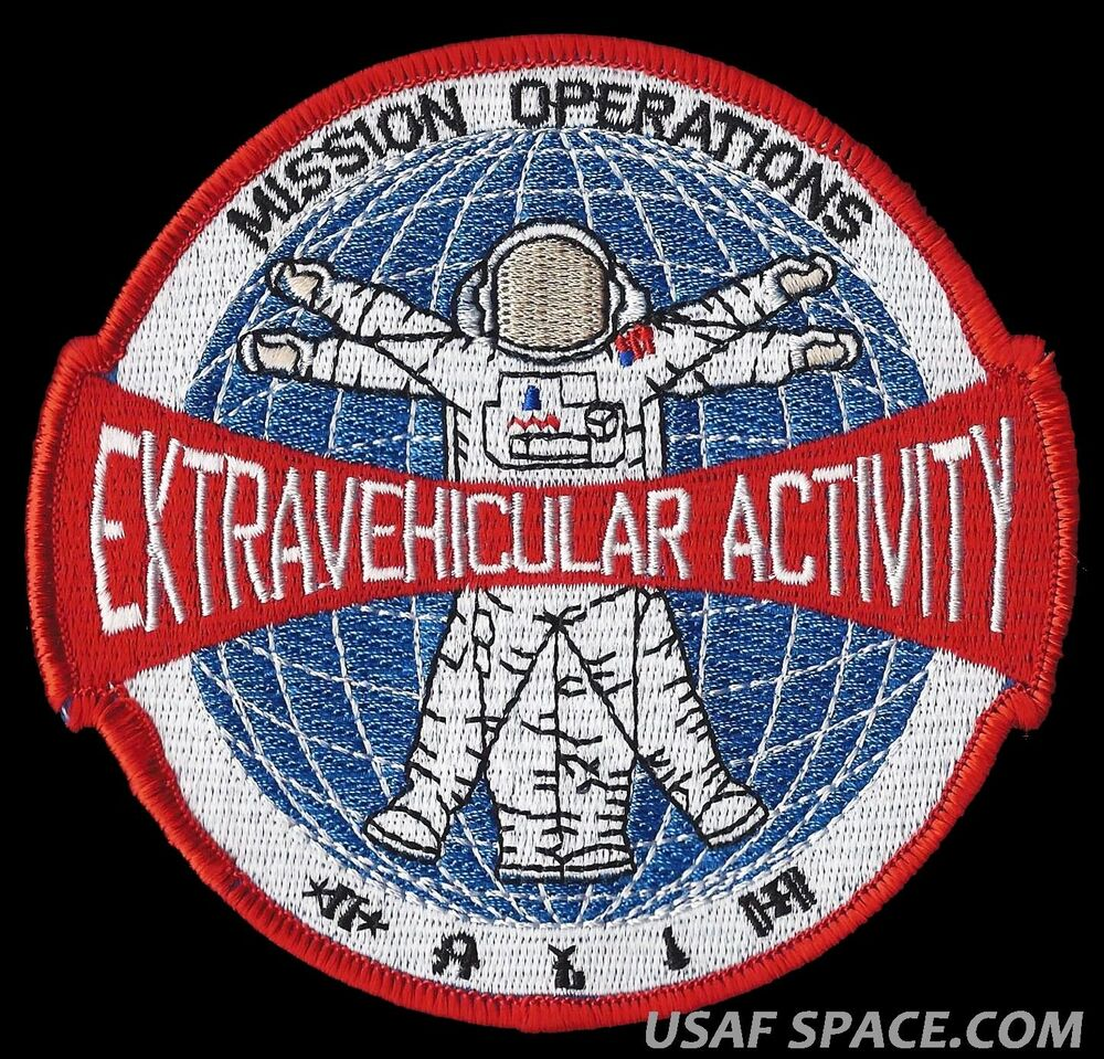 Mission Patches On Mission 4 To The International Space: NASA MISSION OPERATIONS EXTRAVEHICULAR ACTIVITY EVA