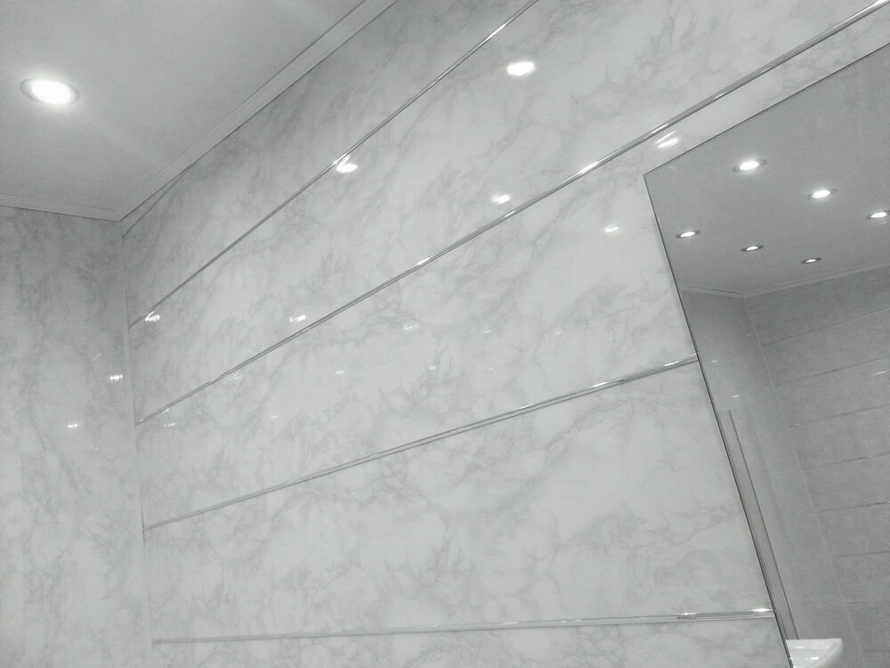 9 Wall Panels : New white marble shower wall panels grey gloss