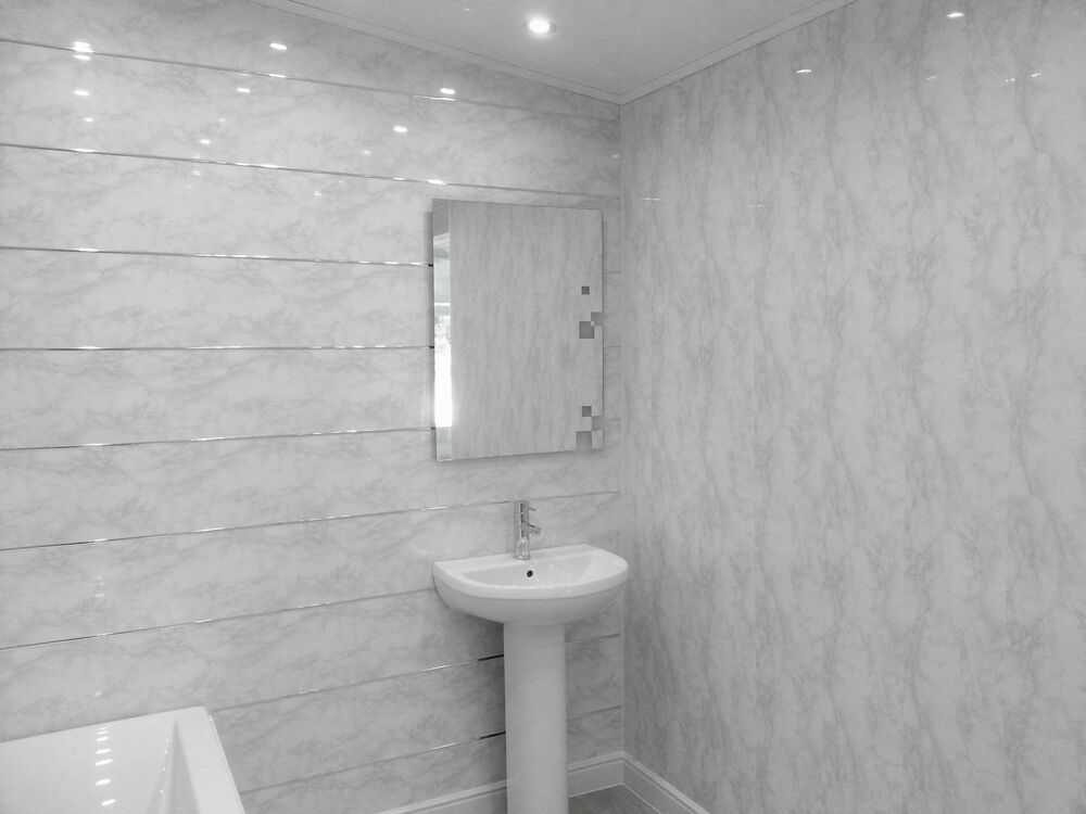 20 White Marble Gloss Bathroom Cladding Panels Pvc Grey