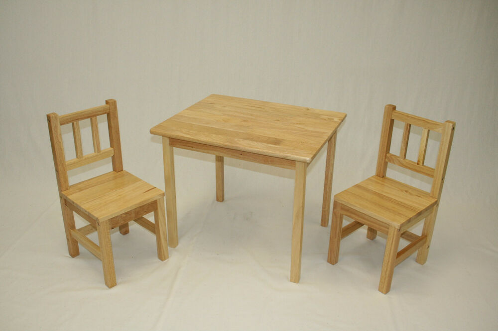 kids 39 table and 2 chairs set solid hard wood ebay. Black Bedroom Furniture Sets. Home Design Ideas
