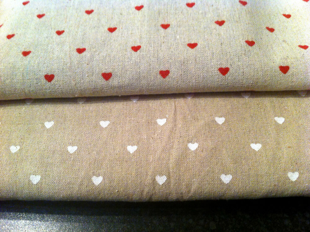 Heart Cotton Linen Fabric Vintage Chic 155cm Wide Any