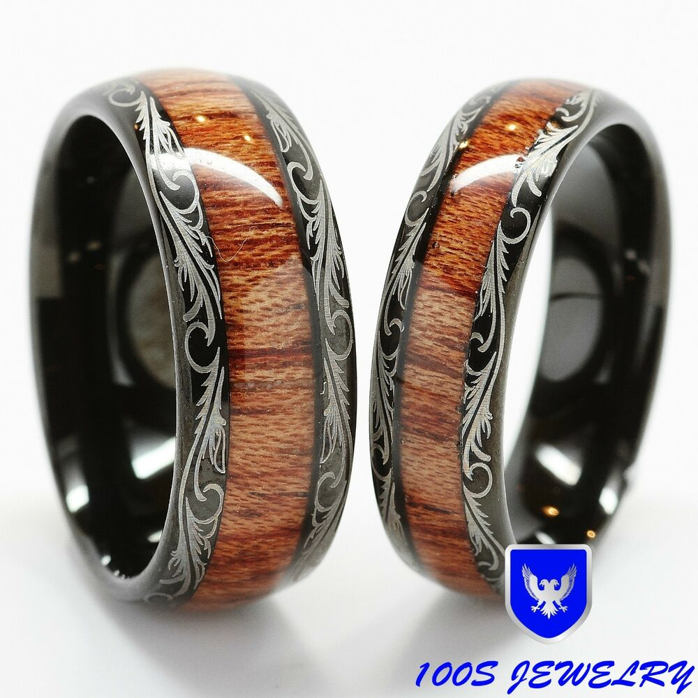 Tungsten Carbide Wedding Band Wood Inlay Comfort Fit Ring Set  eBay