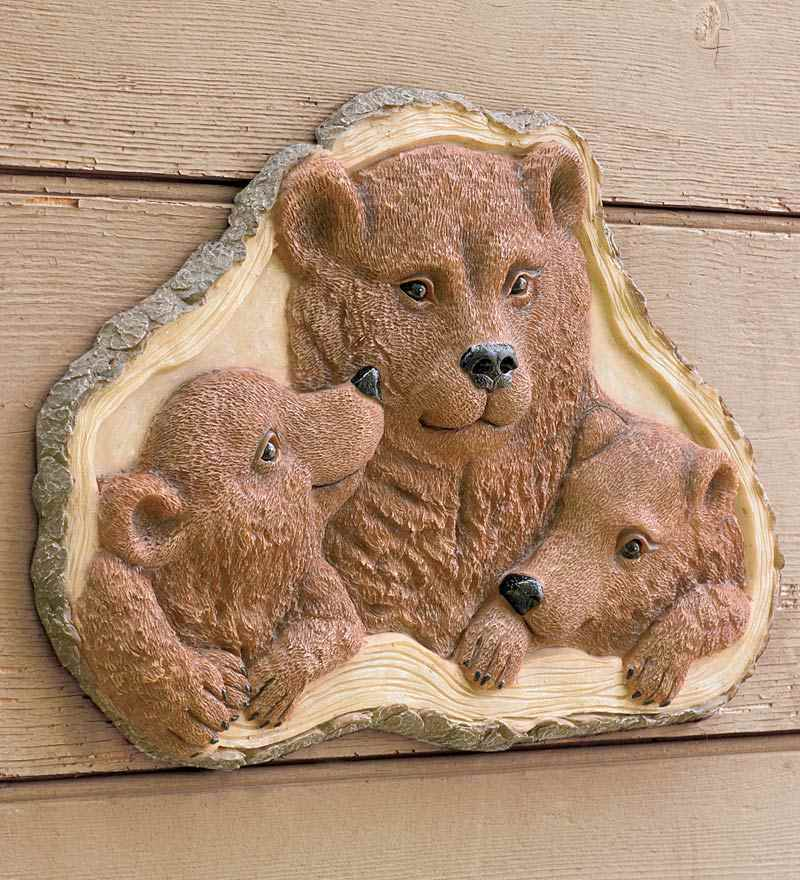 3d woodland bear family mama bear with cubs wall plaque for Bear decorations for home