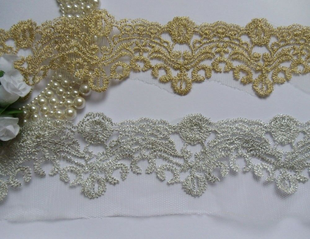 Metallic Gold Silver Embroidery Scallop Flower Lace Trims