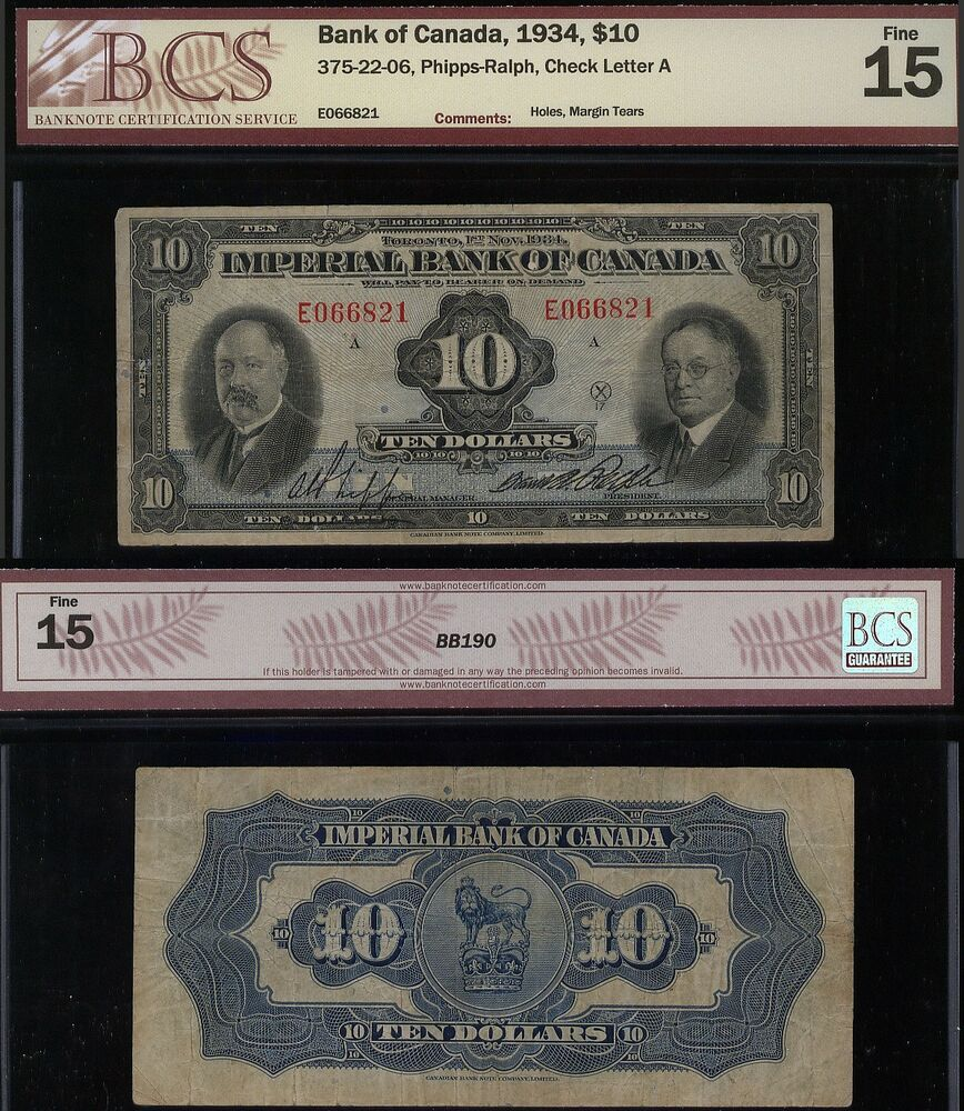 1934 10 Imperial Bank Of Canada Ebay