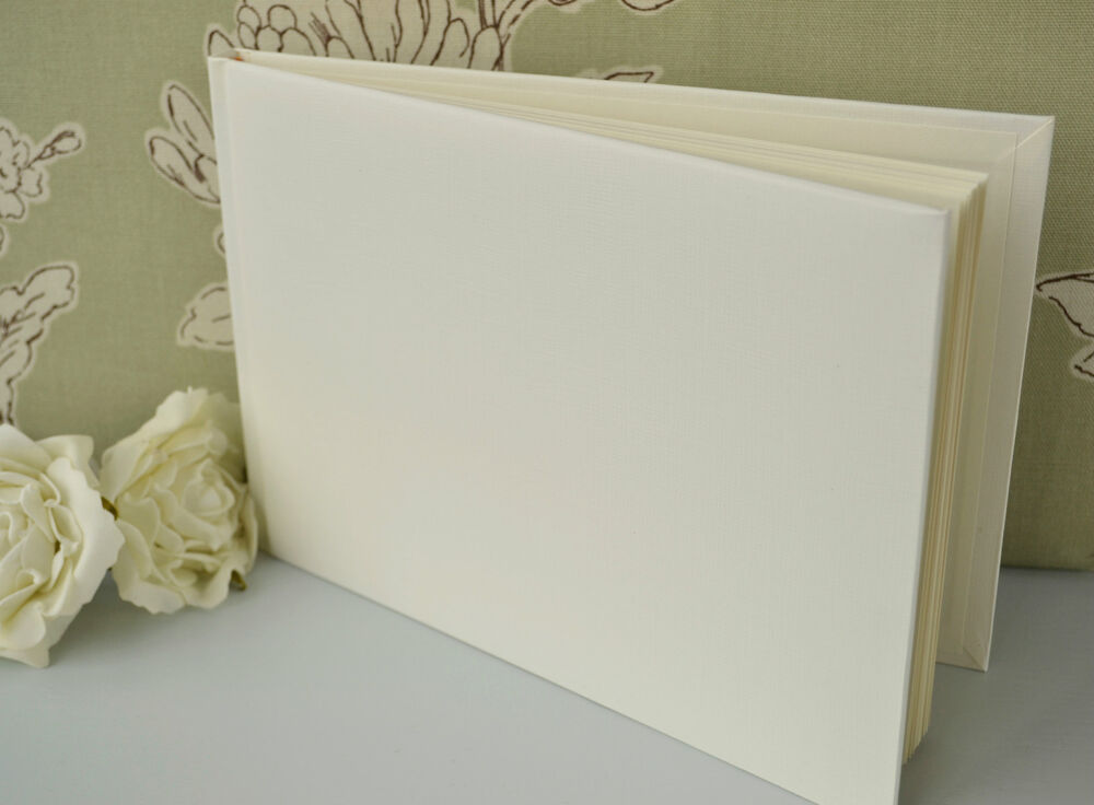 Diy Cover Guest Book : Plain blank ivory guest book diy wedding ebay