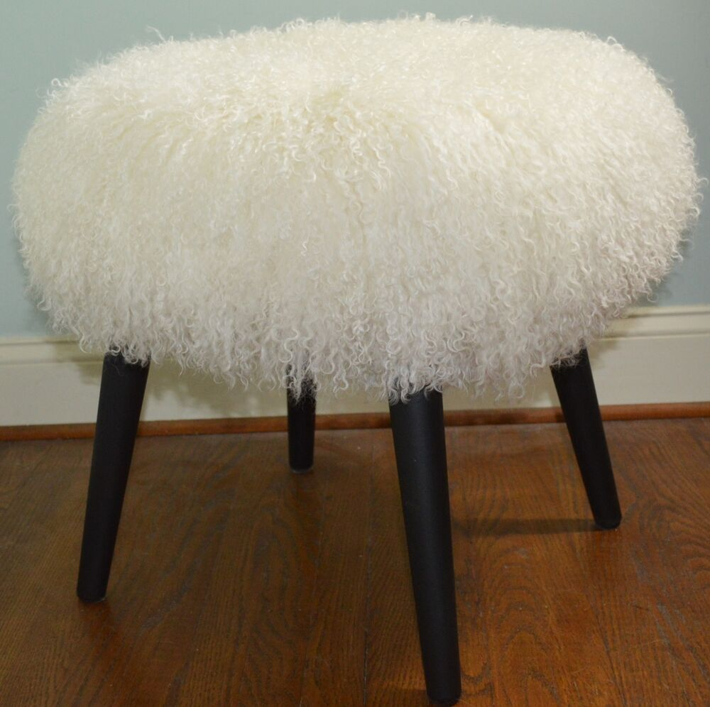 Mongolian Lamb Stool Mid Century Wood Legs New Usa Made