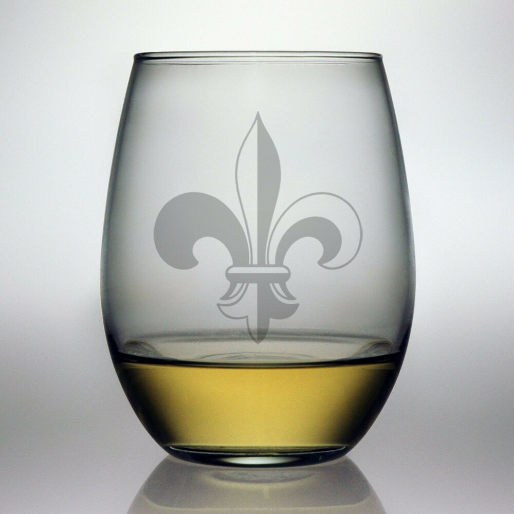 Stemless Wine Glasses Fleur De Lis Design Set 4 Hand