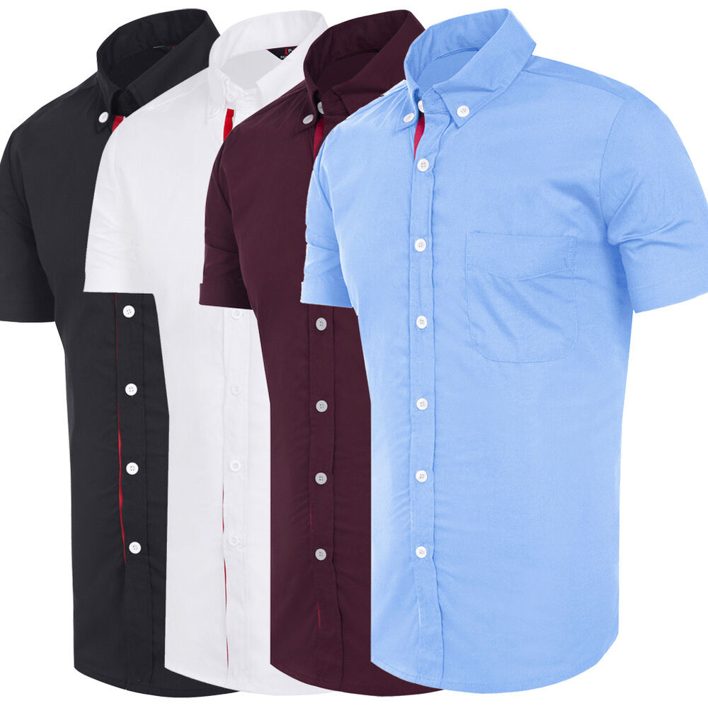 Summer new fashion mens slim fit casual dress shirts short for Slim fit mens shirts casual