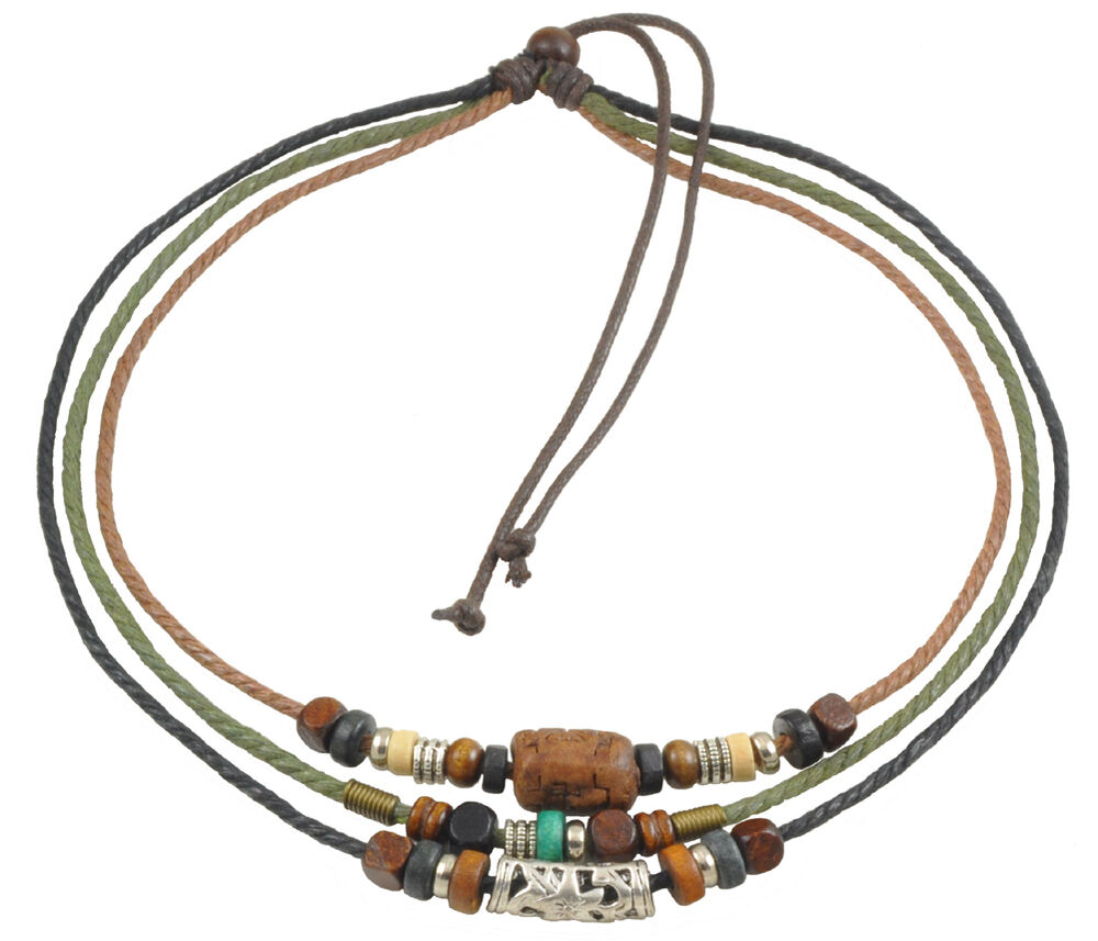 fashion jewelry adjustable surfer tribal hemp necklace