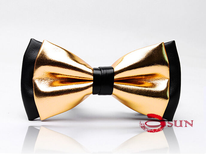 Mens PVC Faux Leather Gold Golden Black Shining Bow Tie ...