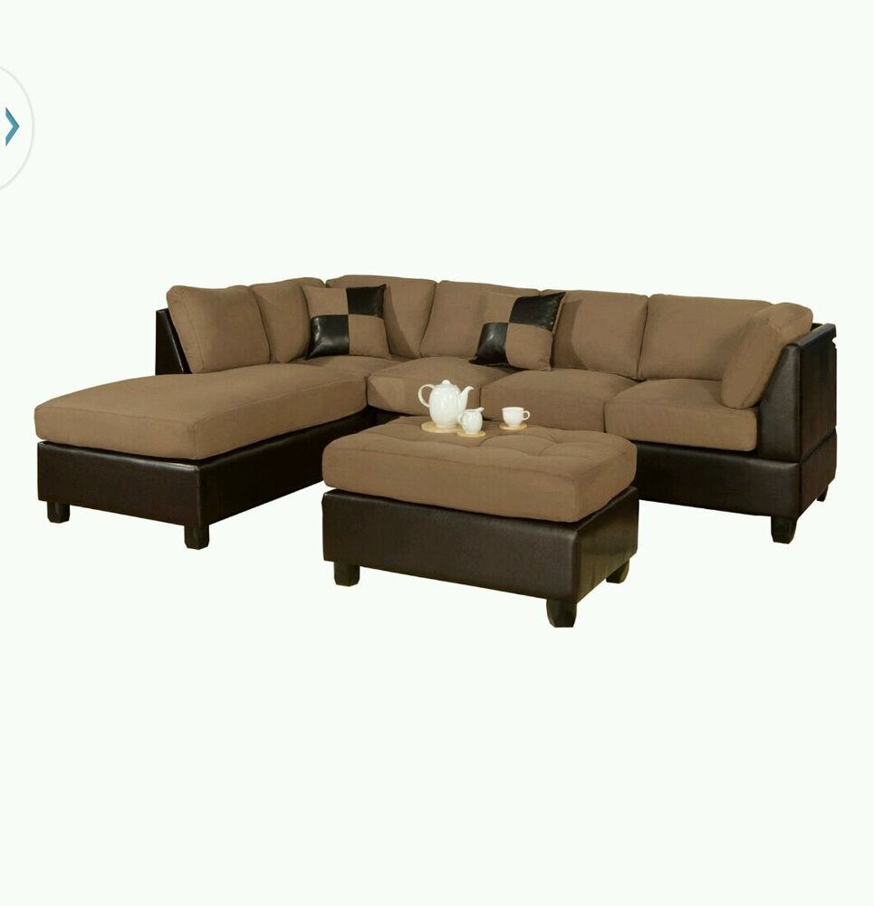 Bobkona hungtinton microfiber leather 3 piece sectional for Sectional sofa set up