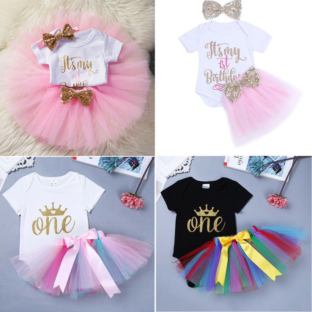 d44bab3e26c Details about Baby Outfits Toddler Girls First 1st Birthday Party Top  T-shirt+Tutu Dress Set