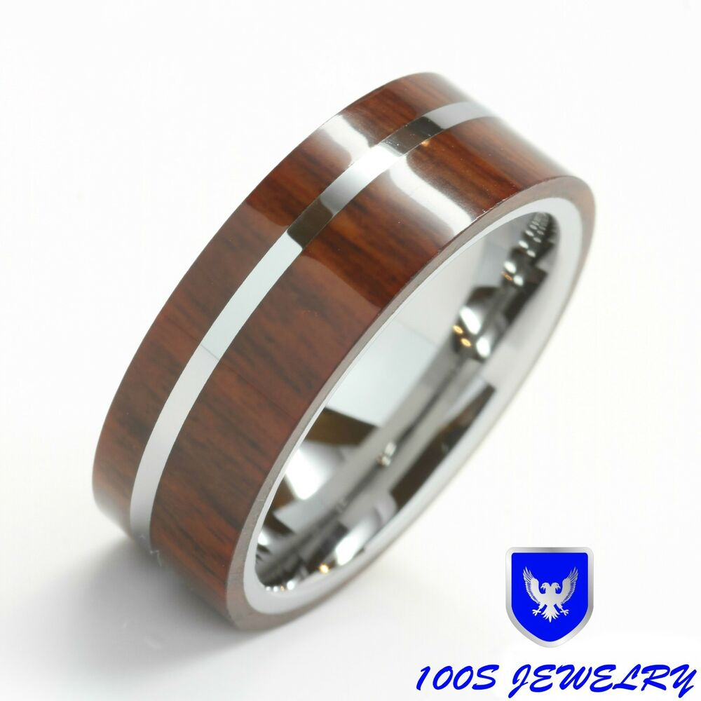 wedding rings and bands mens tungsten wedding band ring wood inlay 1012