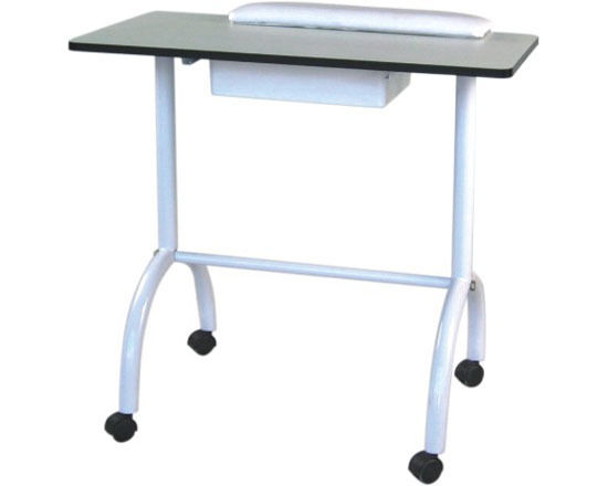 Manicure table white pull out drawer spa nail facial ebay for Long manicure table